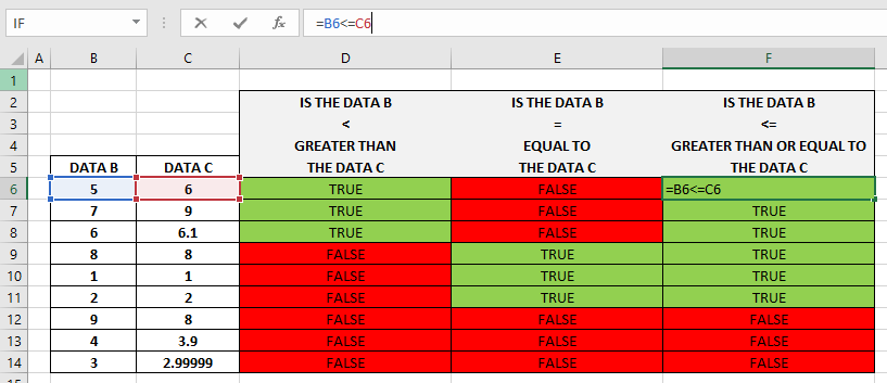 How To Use Excel Less Than Or Equal To Function 1