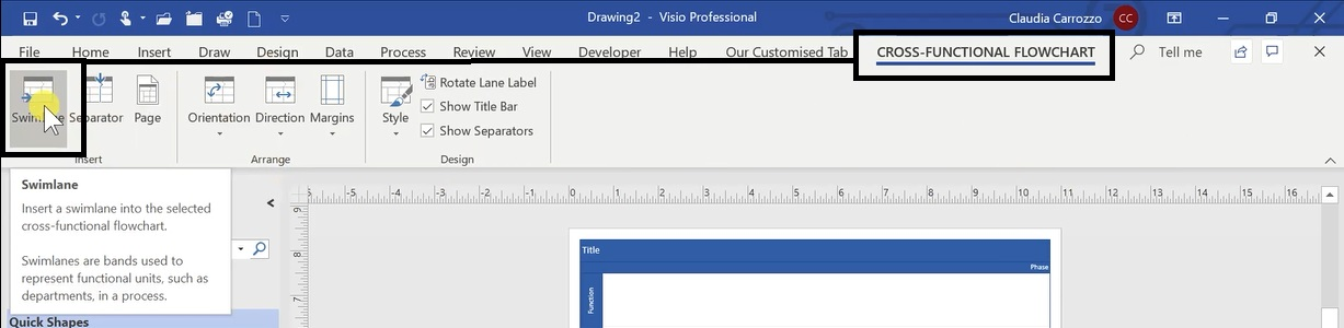 How To Create A Swimlane Diagram In Ms Visio 5