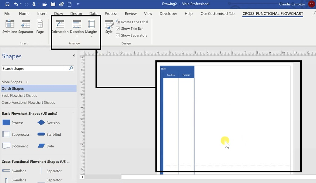 How To Create A Swimlane Diagram In Ms Visio 6
