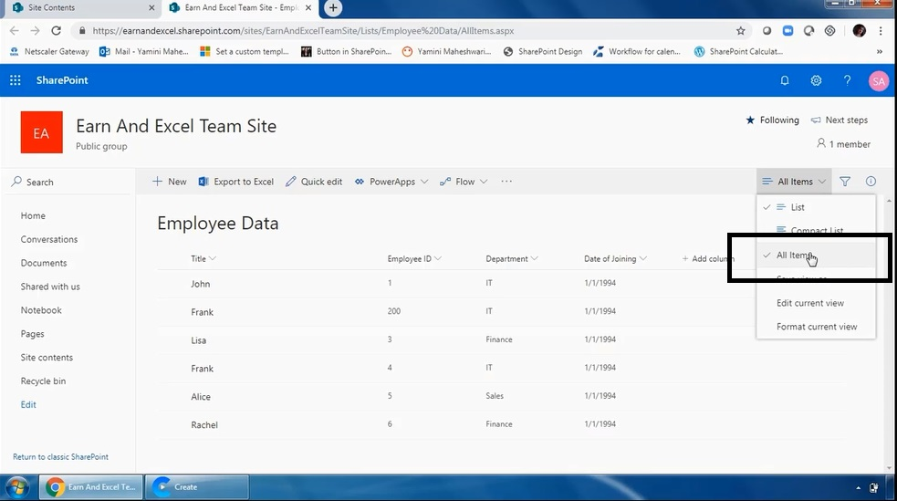 How To View List In Ms SharePoint 2