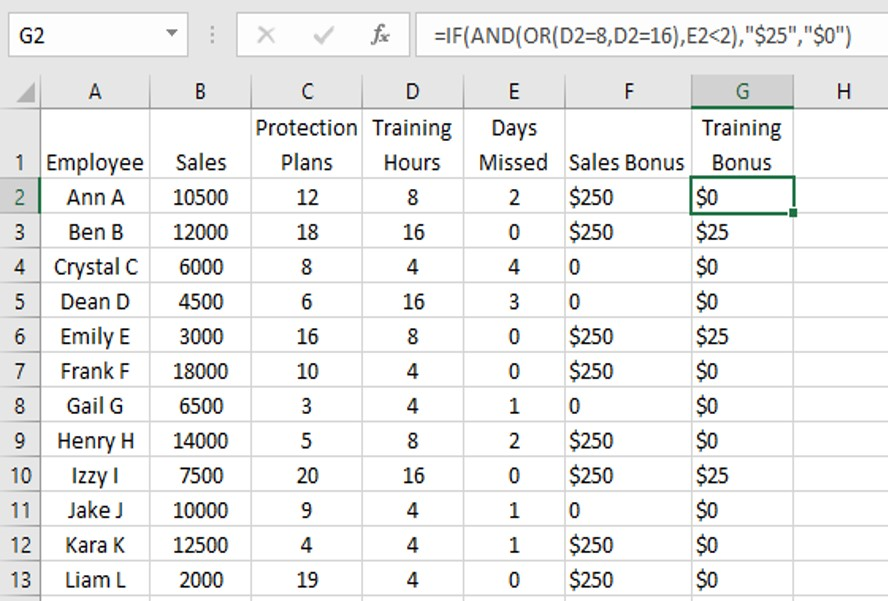 how to use if and or function in excel