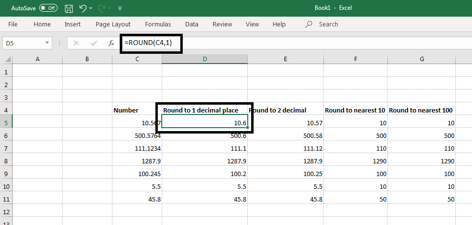 Round() Function in Excel 1