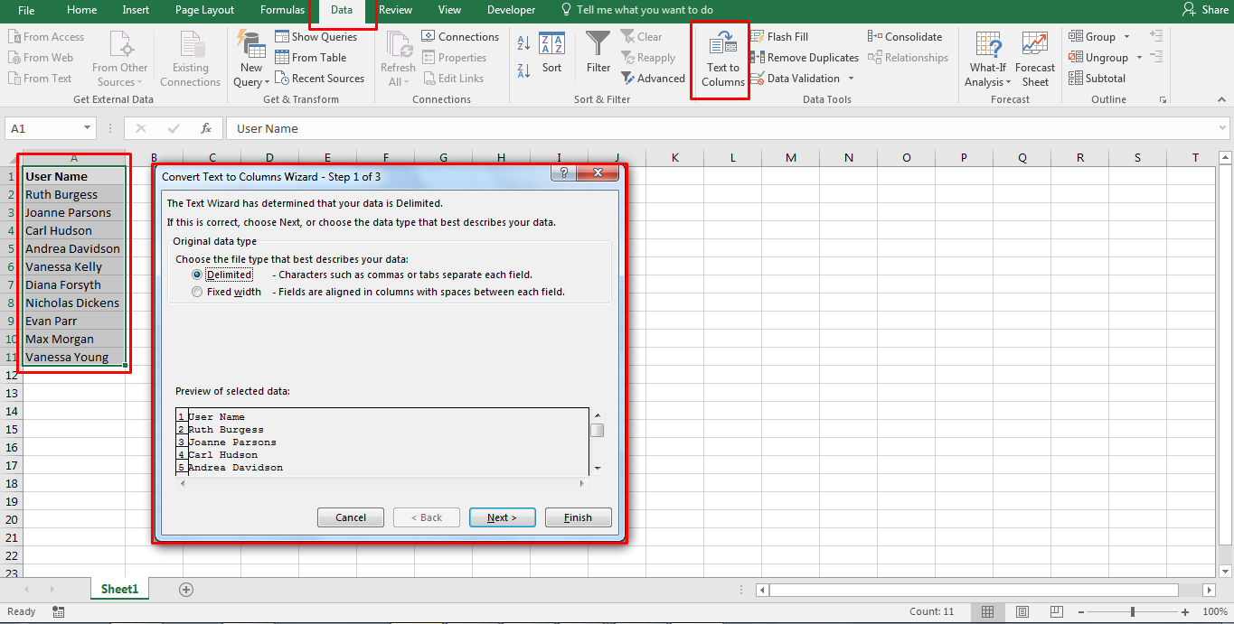 How To Separate First And Last Name In Excel 1