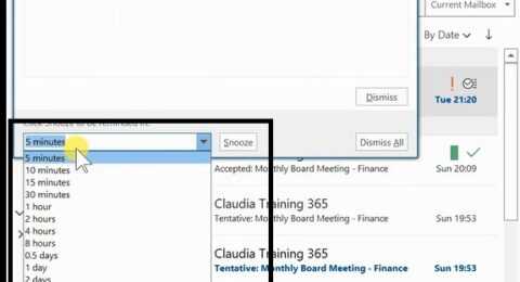 What Reminders look like In Outlook 2